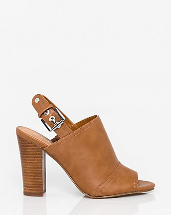 Faux Leather Peep Toe Shootie