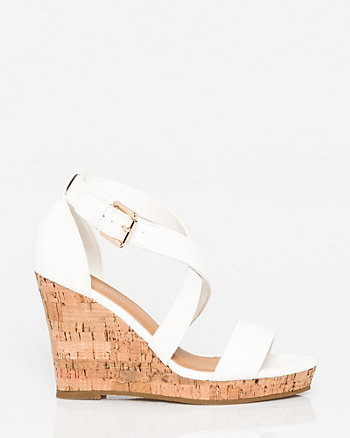 Faux Leather Criss-Cross Wedge Sandal