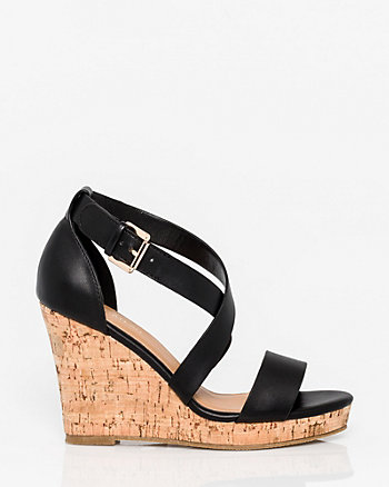 Leather-Like Criss-Cross Wedge Sandal
