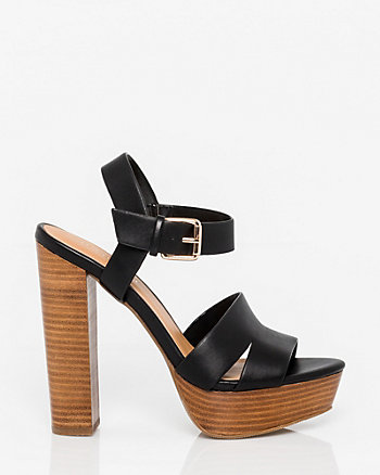 Faux Leather Platform Open Toe Sandal