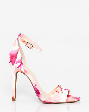 Floral Print Leather-Like Open Toe Sandal