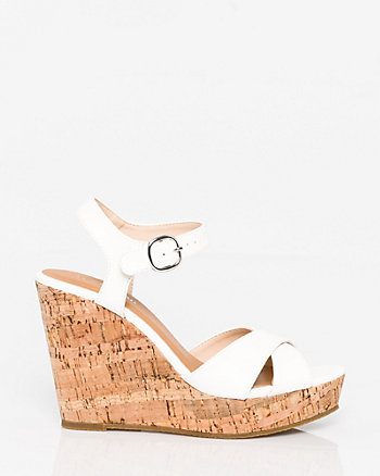 Faux Leather Open Toe Wedge Sandal