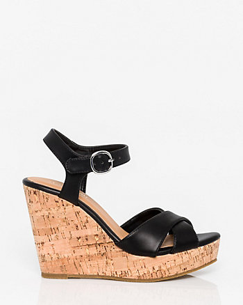 Leather-Like Open Toe Wedge Sandal