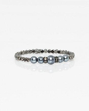 Pearl-Like & Steel Coil Bracelet
