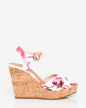 Floral Print Leather-Like Open Toe Wedge