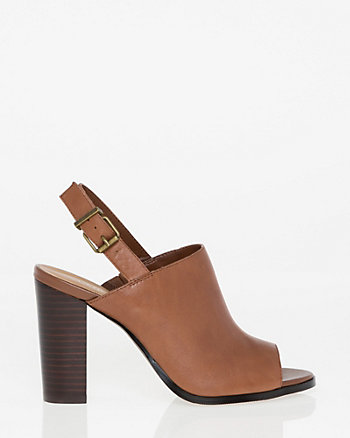 Leather Peep Toe Slingback Shootie