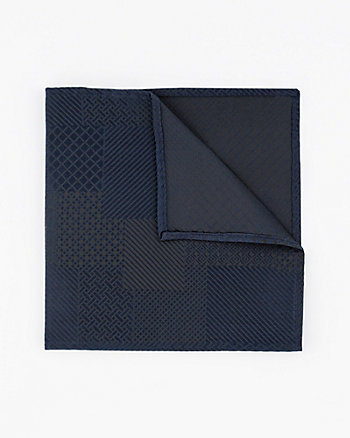 Geometric Print Textured Silk Pocket Square
