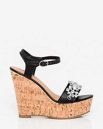 Jewel Embellished Leather-Like Wedge