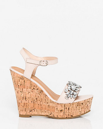 Jewel Embellished Faux Leather Wedge