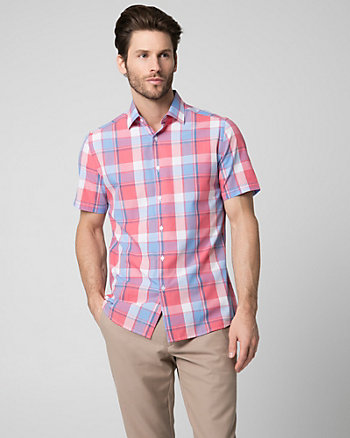 Check Print Cotton Blend Slim Fit Shirt