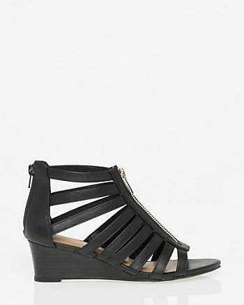 Faux Leather Gladiator Wedge Sandal