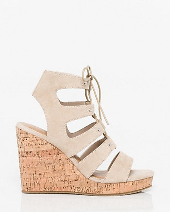 Suede-Like Ghillie Tie Wedge Sandal