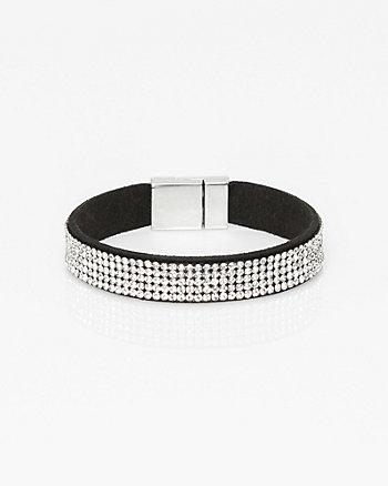 Suede-Like & Gem Magnetic Bracelet
