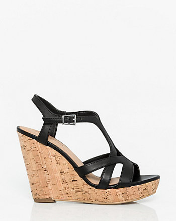 Leather T-Strap Wedge Sandal
