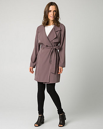 Woven Notch Collar Trench Coat