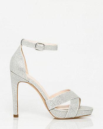 Glitter Mesh Open Toe Platform Sandal