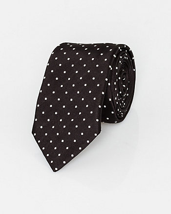 Italian-Made Dot Print Silk Tie