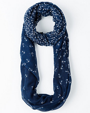 Anchor Print Voile Infinity Scarf