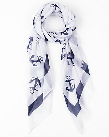 Anchor Print Voile Lightweight Scarf