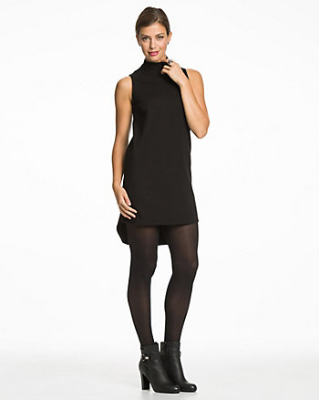 Cut & Sew Mock Neck Tunic Dress