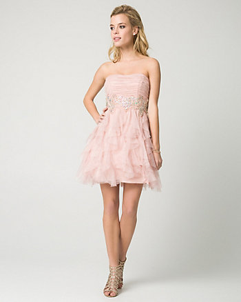 Sparkle Mesh Strapless Party Dress
