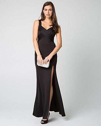 Scuba Knit V-Neck Gown