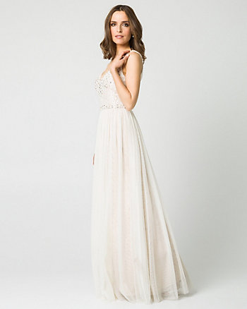 Jewel Embellished Lace & Chiffon Gown