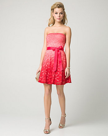 Ombré Lace Strapless Party Dress