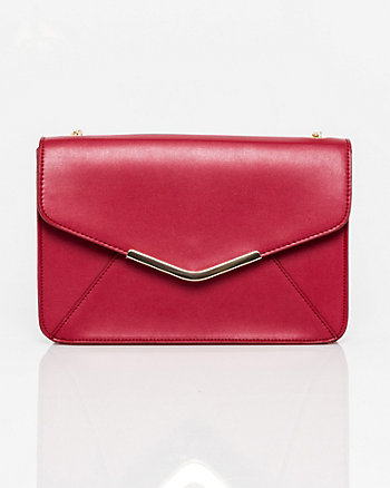 Metallic Leather-Like Flapover Clutch