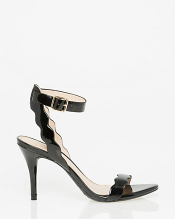 Patent Faux Leather Zigzag Strap Sandal