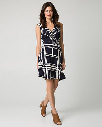 Geo Print Stretch Twill V-Neck Dress