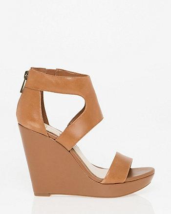Sandale à talon compensé en cuir