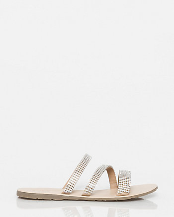 Embellished Leather Asymmetrical Sandal
