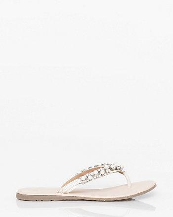 Jewel Embellished Leather Thong Sandal