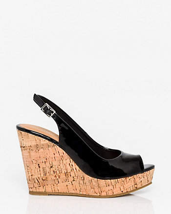Patent Faux Leather Slingback Wedge