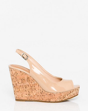 Patent Leather-Like Slingback Wedge