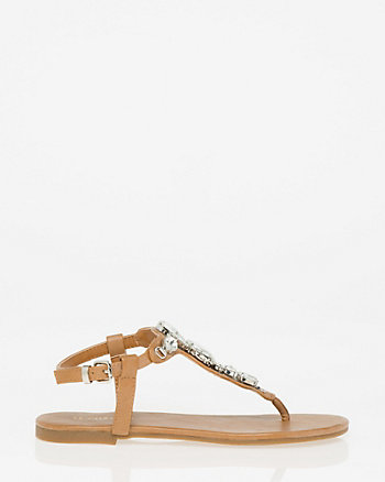Embellished Faux Leather Thong Sandal