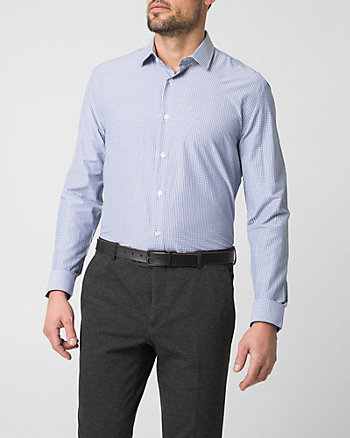 Check Print Cotton Blend Tailored Fit Shirt