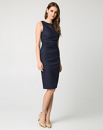 Viscose Blend Boat Neck Shift Dress