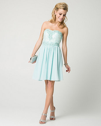 Jewel & Chiffon Sweetheart Party Dress