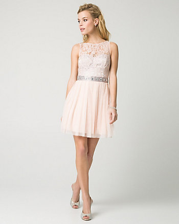 Lace & Mesh Illusion Party Dress