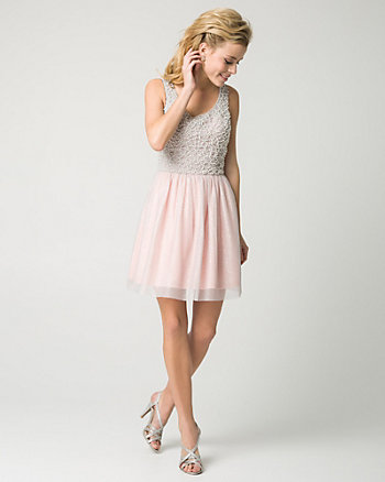 Mesh Scoop Neck Party Dress