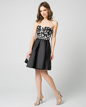 Embellished Lace & Satin Party Dress