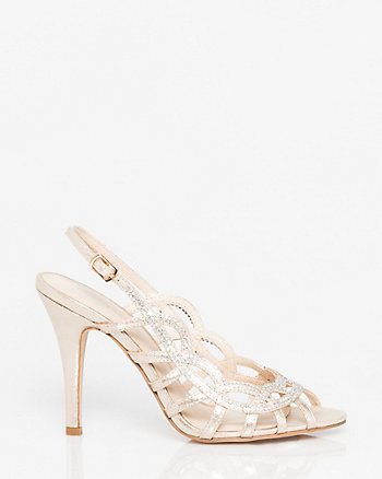 Jewelled Metallic Foil Cage Slingback