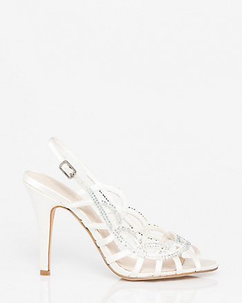Jewel Embellished Satin Cage Slingback