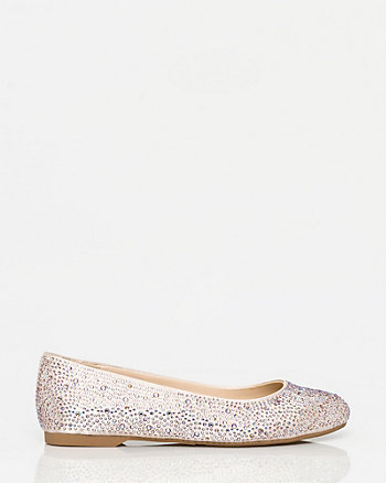 Jewel Embellished Satin Ballerina Flat