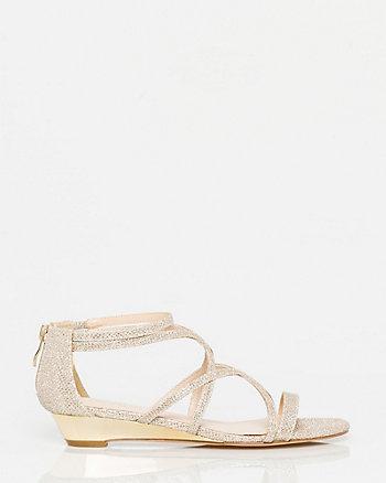 Glitter Mesh Strappy Wedge Sandal