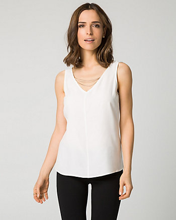 Viscose Crêpe V-Neck Top
