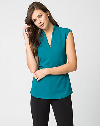 Knit Crêpe Built-Up Neckline Top