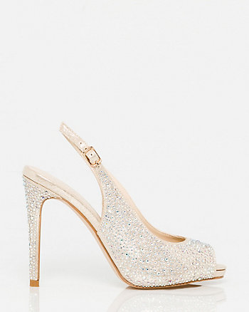 Jewel Embellished Metallic Foil Slingback